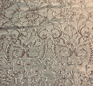 "Champagne Victorian Sweetheart Damask 4-Way Stretch Embroidered Sheer Sequin Lace 56"" Wide 