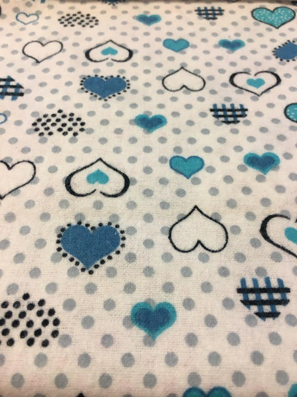 "Blue and Aqua Polka Dot Hearts 100% Cotton Flannel 45"" Wide 