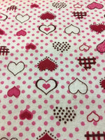 "Load image into Gallery viewer, Red and Pink Polka Dot Hearts 100% Cotton Flannel 45"" Wide 