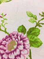 "Load image into Gallery viewer, Pink and Purple Garden Flower White Poly Cotton 60"" Wide 