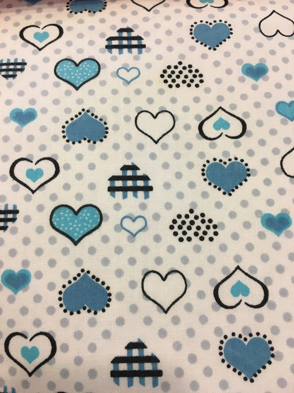 "Light Blue and Turquoise Heart Polka Dot Printed White Poly Cotton 60"" Wide 