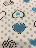 "Load image into Gallery viewer, Light Blue and Turquoise Heart Polka Dot Printed White Poly Cotton 60"" Wide 