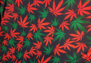 "Red and Green Multicolored Marijuana Leaves Nylon Spandex Lycra 56"" Wide 