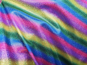 "Rainbow Diagonal Stripe Foggy Metallic Spandex Lycra 60"" Wide 