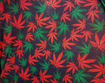 "Load image into Gallery viewer, Red and Green Multicolored Marijuana Leaves Nylon Spandex Lycra 56"" Wide 