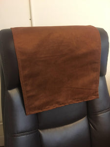 "2 Pieces - 14 BY 24 INCHES - leather Brown faux suede with DARK Brown pvc vinyl backing                                         Dark Brown Faux Suede 14""x24"" Recliner Furniture Protector Cover 