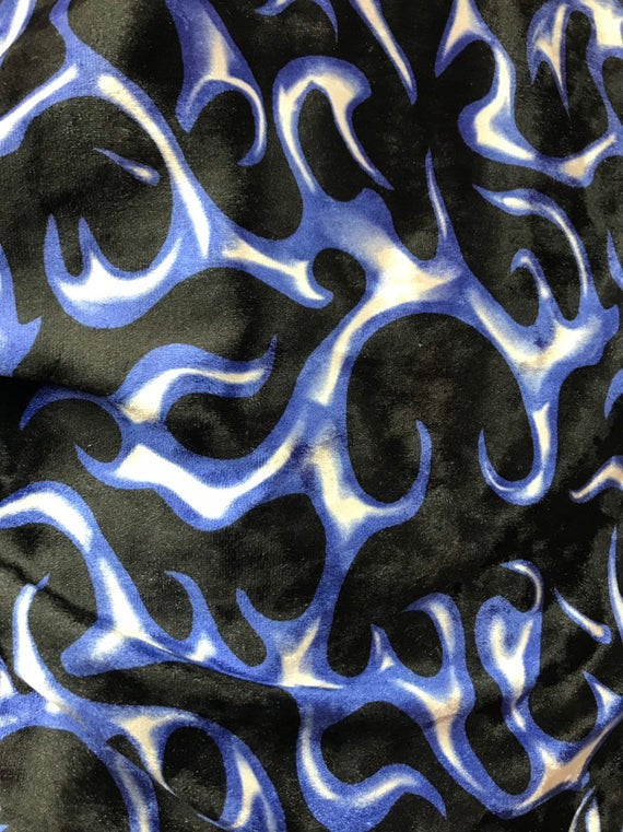 "Blue Flames Printed Crushed Stretch Velvet 60"" Wide 