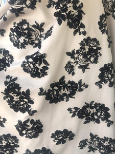 "Beige Printed Scuba Black Velvet Roses 60"" Wide 