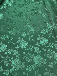 "Green Floral Jacquard Satin Brocade 58"" Wide 