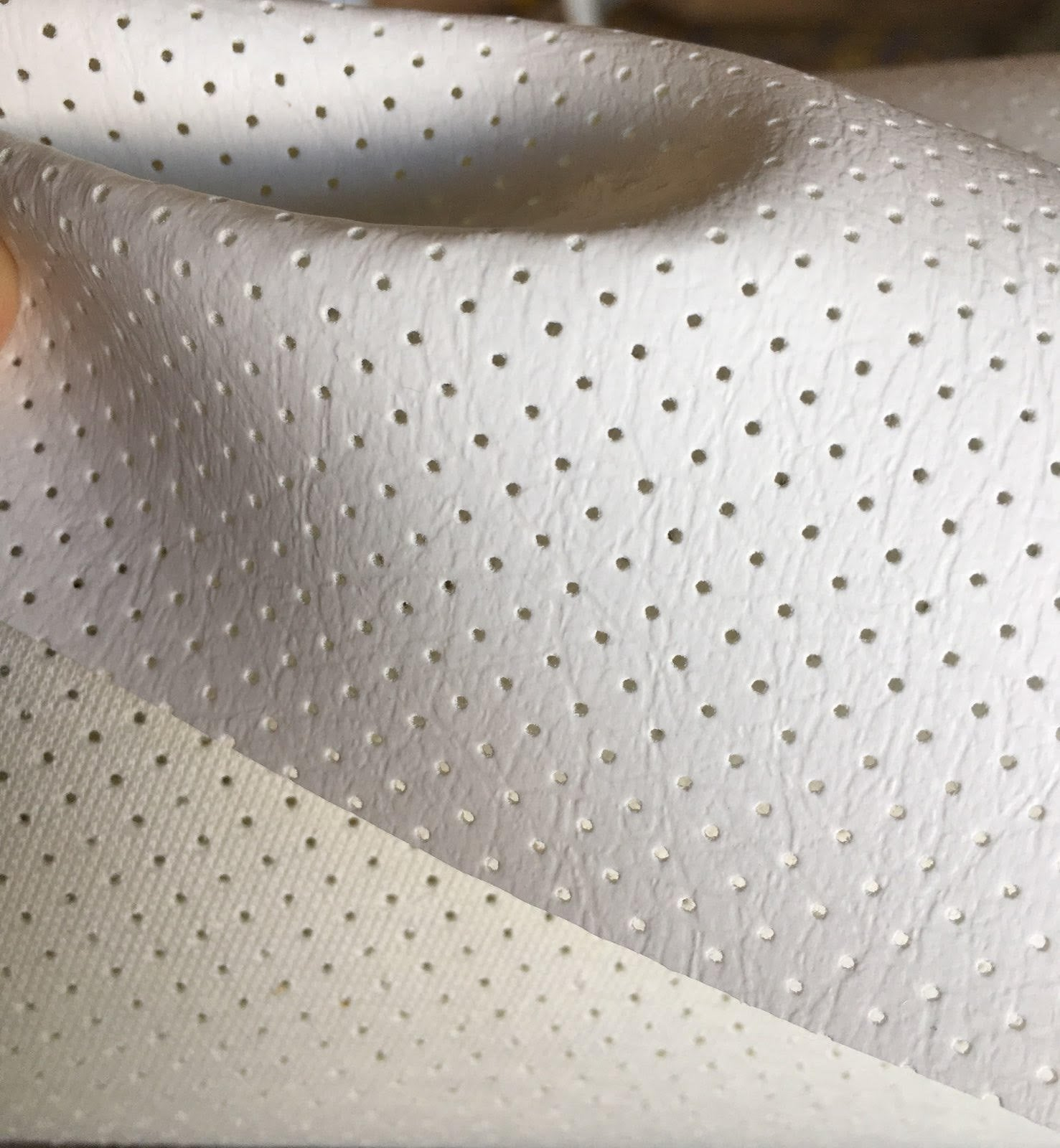 "White Perforated Faux Leather Vinyl 55"" Wide 