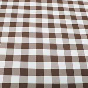 "Brown White Checker Print Gingham Polyester Poplin 59"" Wide 