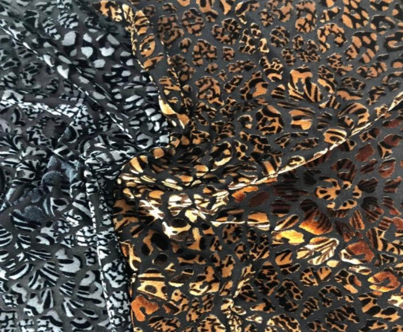 "Animal Floral Spandex Stretch Velvet Burnout 60"" Wide 