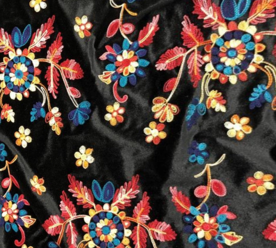 "Floral Design #2 Embroidered Black Spandex 4-WAY Spandex Stretch Velvet 60"" Wide 