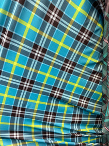 "Turquoise Plaid Spandex Lycra 60"" Wide 