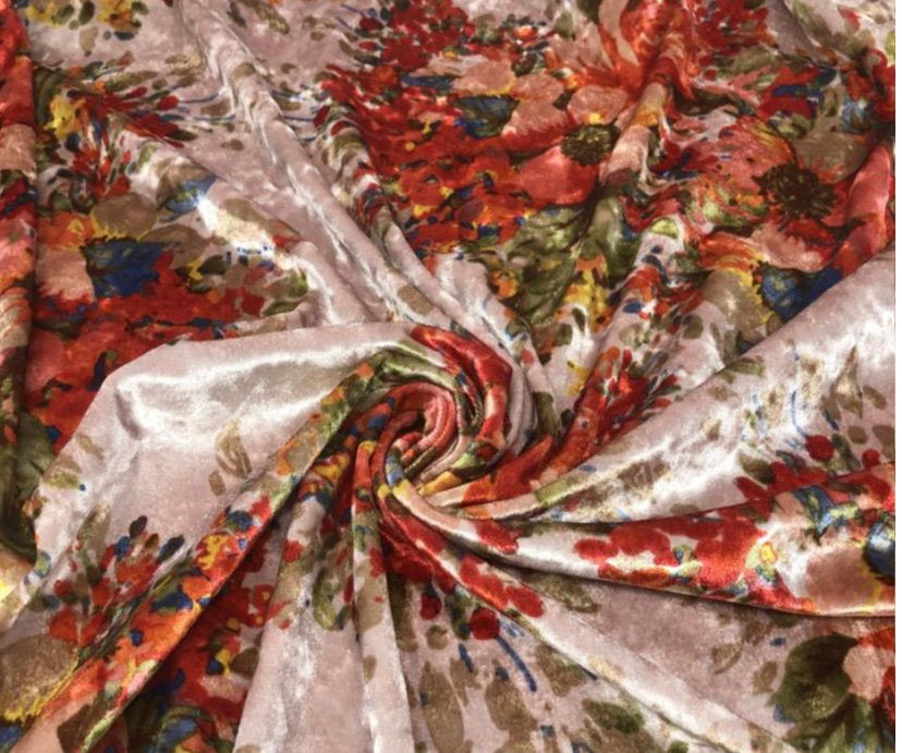 "Blush Floral Garden Printed Crushed Stretch Velvet 60"" Wide 