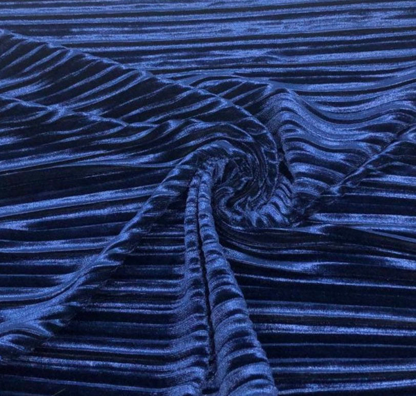 "Royal Pleated 4- Way Spandex Stretch Velvet 60"" Wide 
