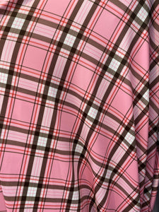 "Pink Plaid Spandex Lycra 60"" Wide 