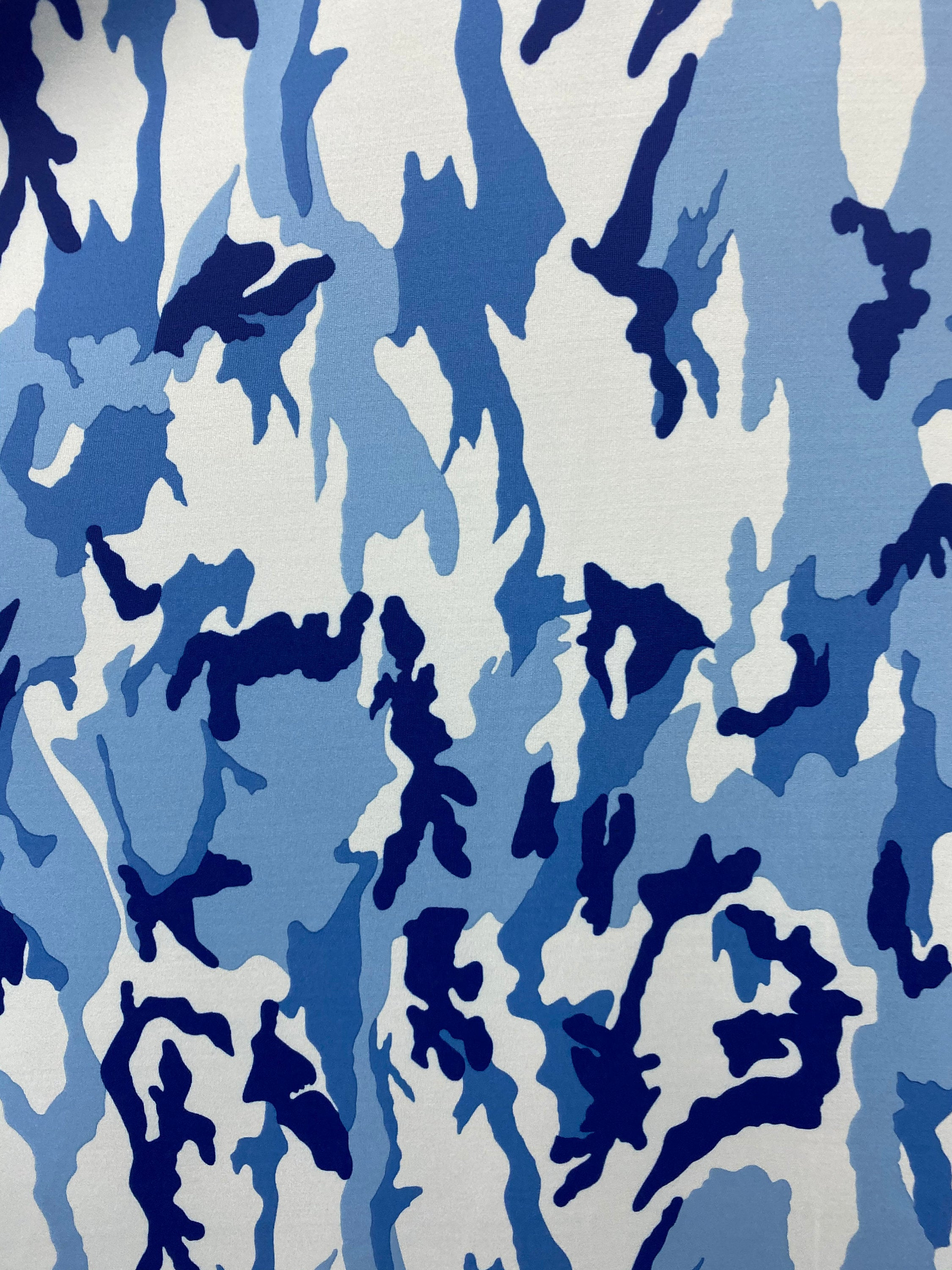 "Blue Camouflage Spandex Lycra 60"" Wide 