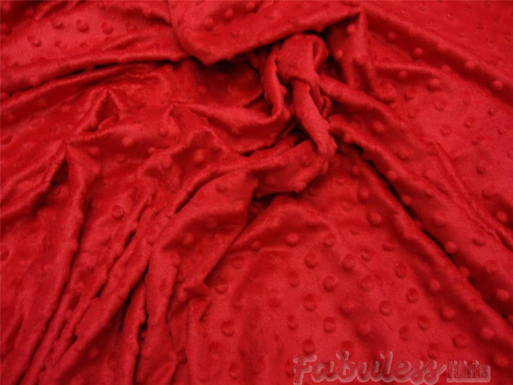 Red Soft Minky Dimple Dot Faux Fur Fabric 60"