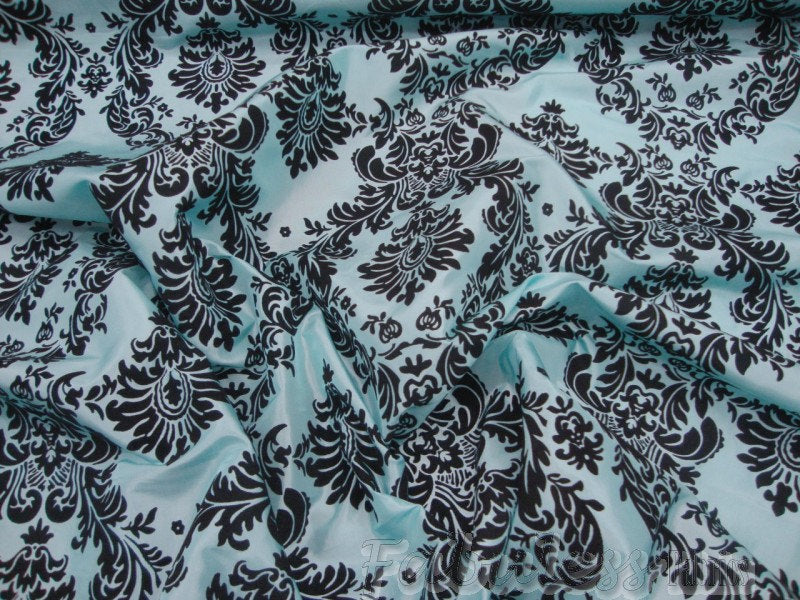 "Tiffany Blue Taffeta Black Velvet Flocking Damask 60"" Wide 