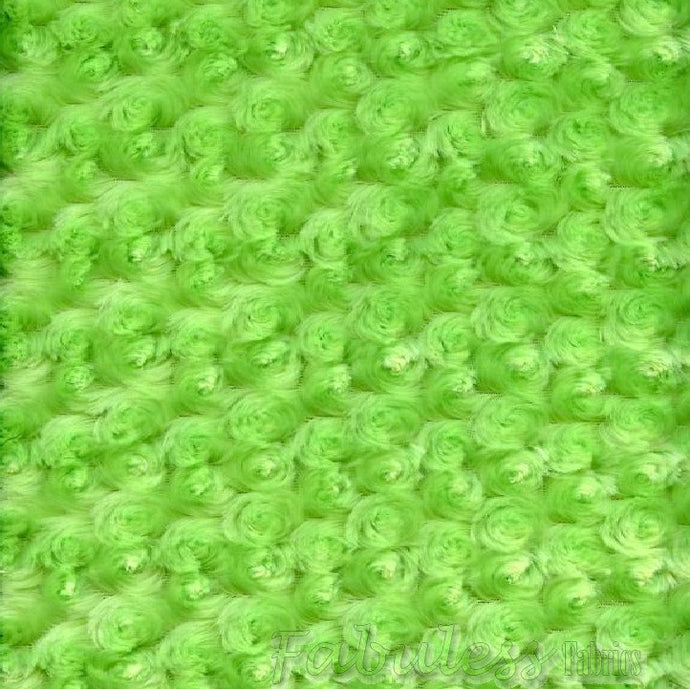 Lime Rose Bud faux Minky custom fabric by the yard 60