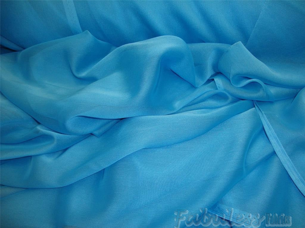 "Aqua Iridescent Sheer Chiffon Fabric 60"" Wide 