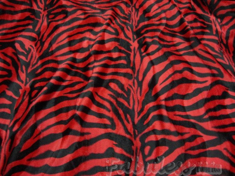 "Red Black Zebra Velboa Faux Fur 60"" Wide 