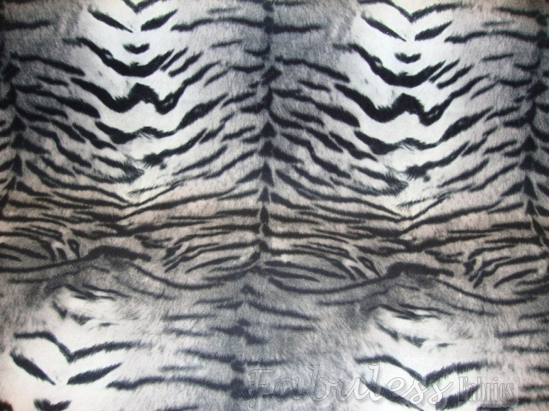 "Black Tiger Print Plush Velvet Mesh Back 56"" Wide 