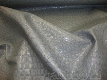 Load image into Gallery viewer, Gray Crocodile upholstery vinyl per yard