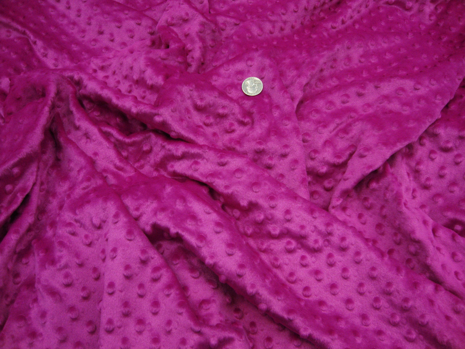 Dark Fuchsia Soft Minky Dimple Dot Faux Fur Fabric 60"