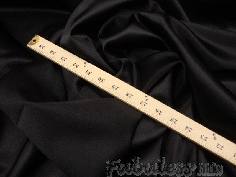 "Black Bridal Satin Polyester 58"" Wide 