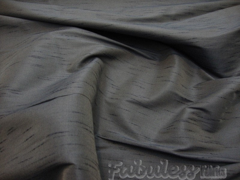 "Two-Tone Charcoal and Blue Shantung Dupioni Faux Silk 54"" Wide 