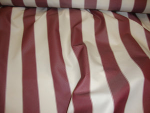 "Burgundy White Waterproof Outdoor Canvas fabric 60"" 600 Denier wide per yard"