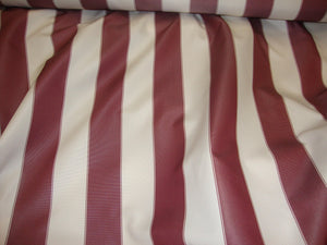 "Burgundy White Striped 600 Denier Waterproof UV Protection Polyester Canvas 60"" Wide 