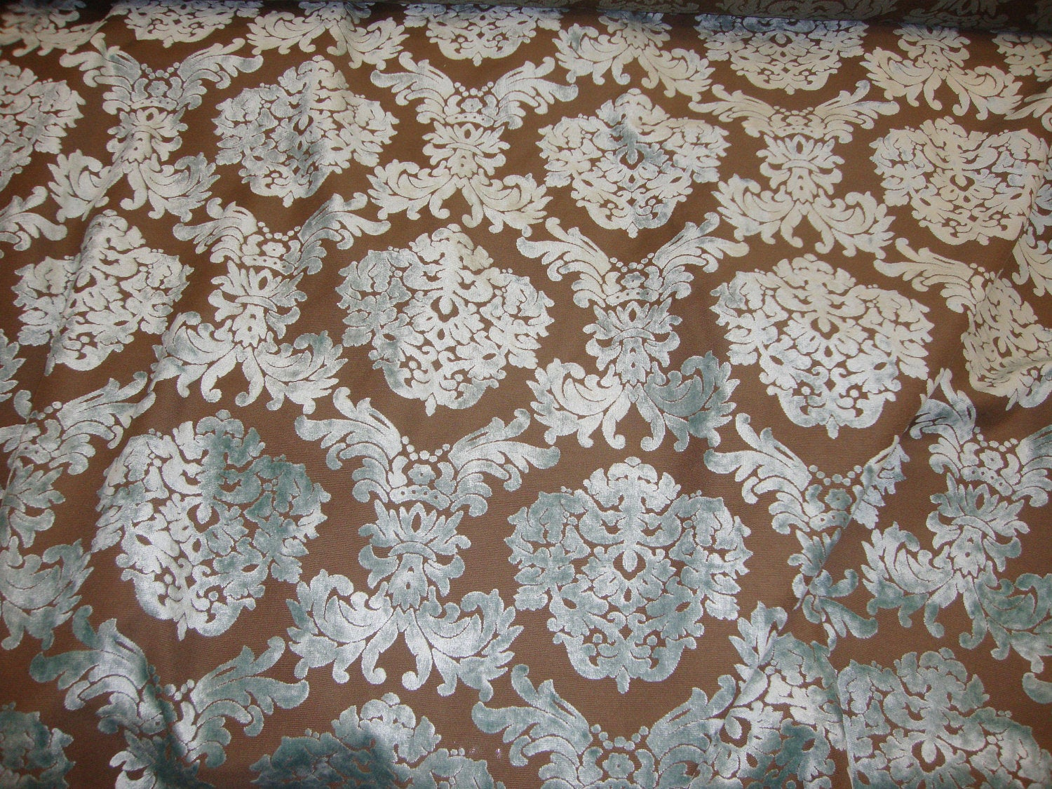 "Tiffany Damask Pattern Burnout Velvet 60"" Wide 