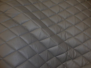 "Grey Diamond Quilted Faux Leather Vinyl 3/8"" Foam Backing 54"" Wide 