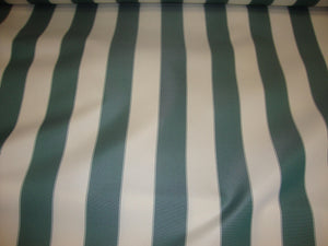 "Hunter Green Ivory Striped 600 Denier Waterproof UV Protection Polyester Canvas 60"" Wide 