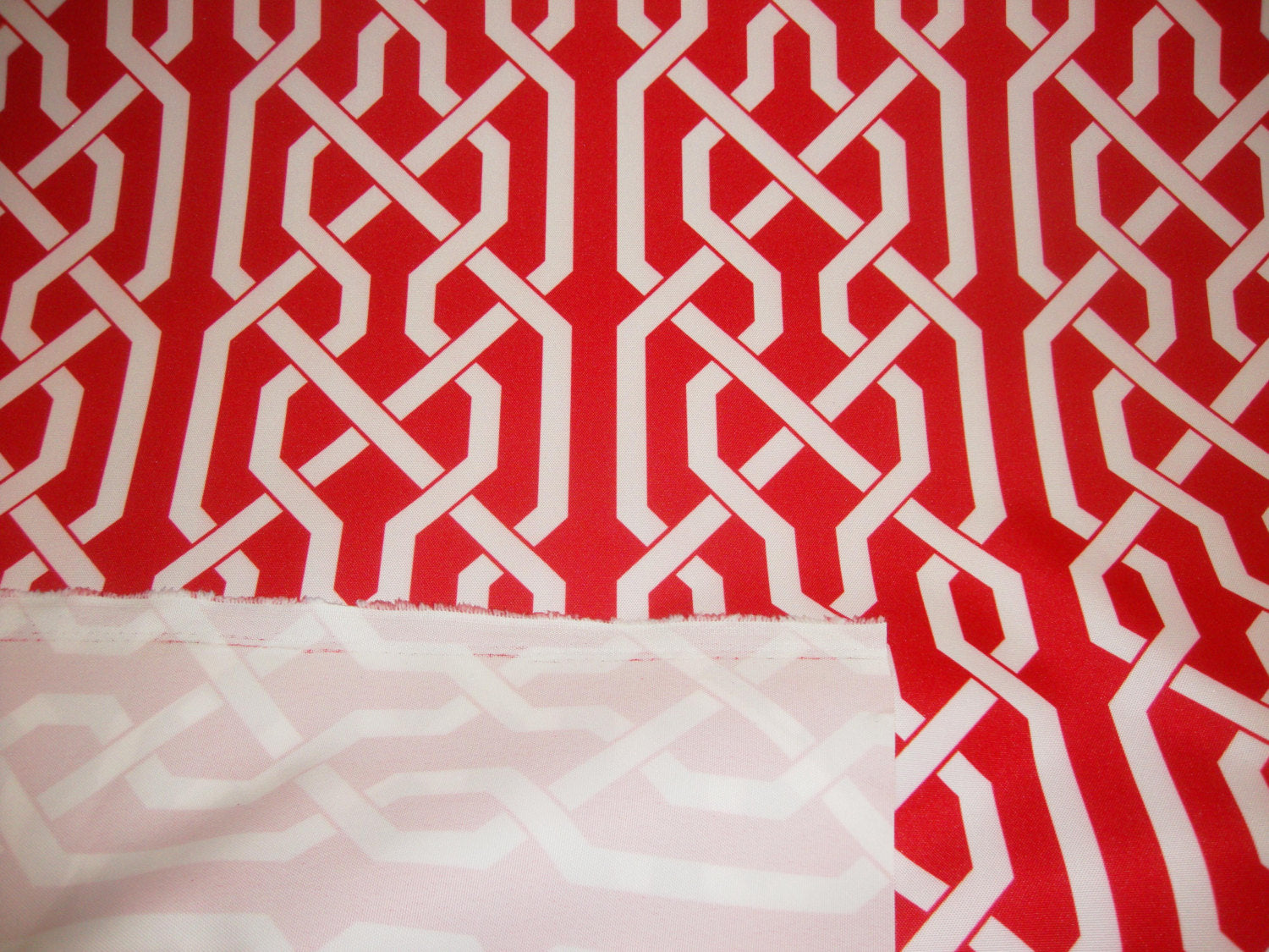 "Red White Roman Style 600 Denier Waterproof UV Protection Polyester Canvas 60"" Wide 
