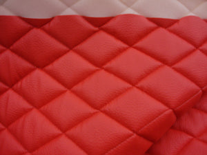 "Red Diamond Quilted Faux Leather Vinyl 3/8"" Foam Backing 54"" Wide 