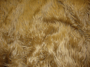 "Caramel Mongolain Faux Fur Long Pile Fabric 60"" Wide 