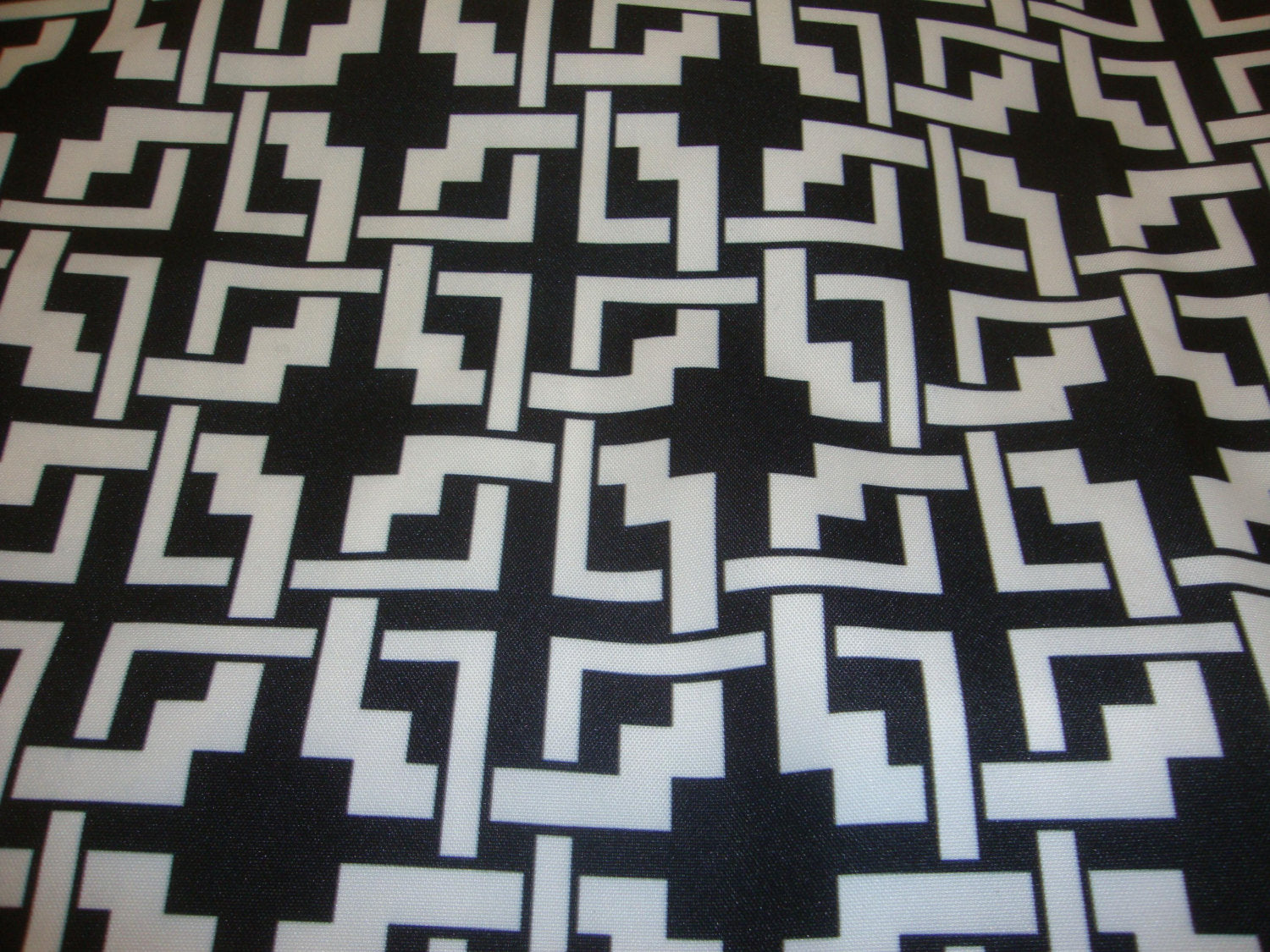 "Black White Geometric Print 600 Denier Waterproof UV Protection Polyester Canvas 60"" Wide 