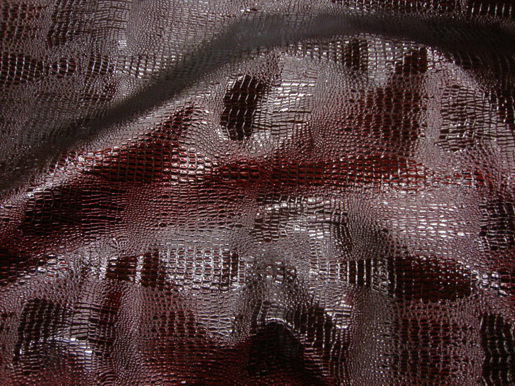 cherry-reptile-skin-embossed-faux-leather-vinyl-56-wide-upholstery-fabric-by-the-yard
