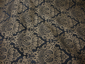 "Charcoal Cleopatra Chenille Gold Damask 54"" Wide 