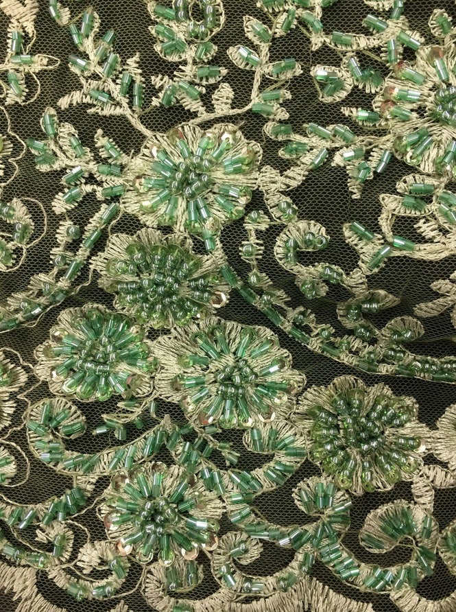 "Light Green Floral Stem Scalloped Beaded Edge Hand Lace 52"" Wide 