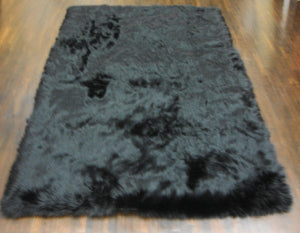 Black Shaggy Plush Faux Fur Rectangular 5'x7' Area Rug || Home Decor