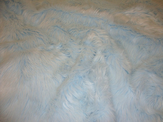 Powder Blue Shaggy Plush Faux Fur Rectangular 3'x5' Area Rug || Home Decor