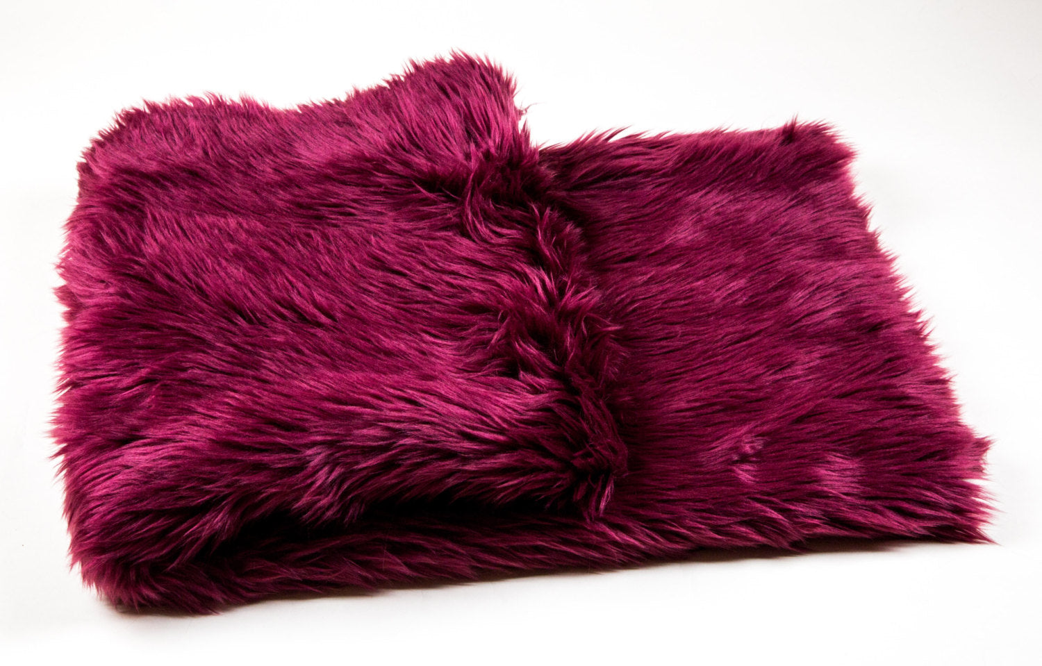 "Burgundy Shaggy Faux Fur Suede Back 108""x60"" Throw Blanket 