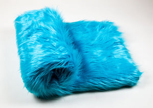 "Aqua Shaggy Faux Fur Suede Back 108""x60"" Throw Blanket 