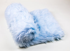 "108"" x 60"" baby Blue faux fur Shaggy Throw Blanket / Bed Spread Coverlet  / Soft Ultra Suede Lining / New"