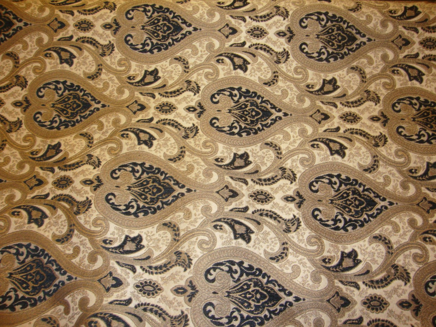 "Gold and Black Monte Cristo Damask Print Chenille 56"" Wide 